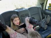 Dude bangs two blondes in fake taxi
