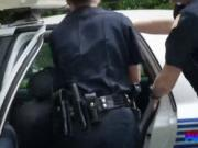 Lucky black stud fucks two hot officers in public