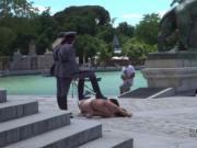 Slaves on leash disgraced on lake