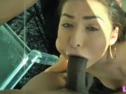 Melissa Moore railed by big black cock while being film