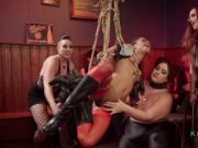 Bondage orgy lezdom anal strap on pounding