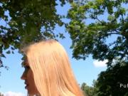Fit Euro blonde fucking outdoor in forest