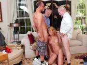College blonde Raylin Ann orgy with old men