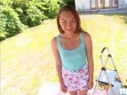 Little Sabrina show her blowjob skills