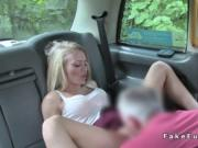 Cab driver bangs blonde deep throat on the bonnet