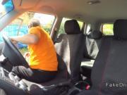 Fat ebony student fucks instructor in car