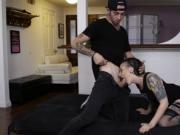 Tattooed slut Rizzo Ford anal screwed