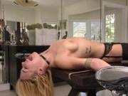 Bound on table blonde gets deep throat