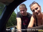 Horny hitchhiker Hannah Sweet banged hard on the backse