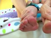 Brunette is obsessed with footjob