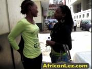 Hot and busty African lesbians taking a soapy shower an