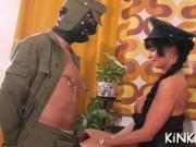 Babe chokes and kicks slave