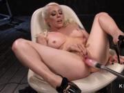 Blonde Milf fucks double penetration machine