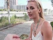 Blonde chick Jade Amber getting fucked in public for ca