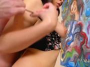 Natural busty Latina maid bangs her boss
