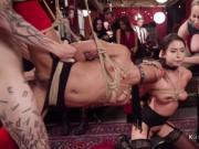 Slaves in bondage orgy fucked