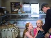 Hot threesome sex on the fries store with Ella and Kayl