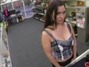 Desperate Busty MILF sucks and fucks the pawn dude in t