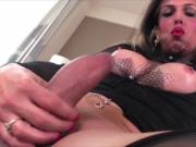 Shemale Fernanda is having a solo masturbation and used