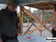 Pretty teen gets banged by border guard outdoors