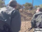 Busty chick caught and roughly banged at border