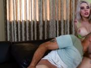Busty blonde tranny anal fucked in living room