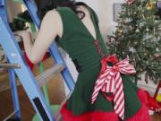 Elf girlfriend fucks big cock bf on Xmas
