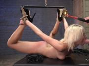 Restrained blonde slave got hard fucked