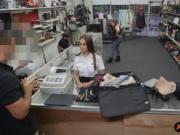Latina stewardess banged in the pawnshop