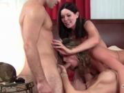 Teen stud gets his hard cock fucked by three hot cougar
