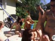Pool party leads into horny groupsex
