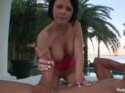 Pretty dark haired MILF goes to the beach to get fucked