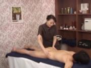 Subtitled CFNM Japanese milf masseuse taint massage