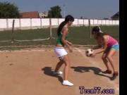 Teen device bondage Sporty teenagers tonguing each othe