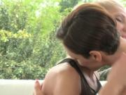Amorous outdoor lesbian play
