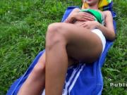 Serbian babe takes off shorts and fucks in public