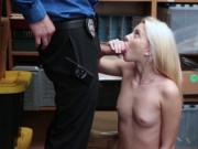 Scared shoplifter swallow a big cock