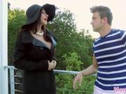 teen sucks BFs cock as he is penetrating her stepmom