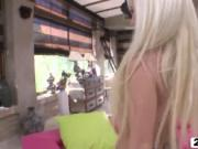 Excited blonde rookie gets pussy and asshole hammered i