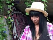 Massive boobs tourist bangs outdoor
