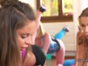 Lesbians oiling and licking at the gym