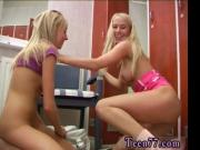 Young lesbos having fun in locker room
