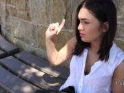 Beautiful amateur banged in bushies in public outdoors