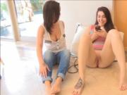 Gal plays with two dildos