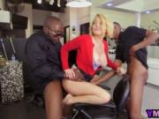 Blonde hair stylist double penetrated by black cocks