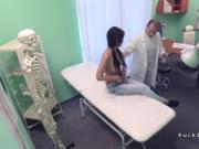 Doctor tests brunette and fucks