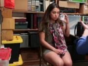Cute brunette shoplyfter Shane Blair sucks horny invest