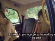 Lesbo milf taxi driver having fun