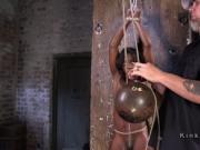 Ebony in brutal hogtied suspensions