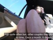 Pretty babe fucks and squirts in fake taxi